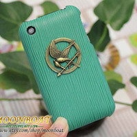 Hard Case Cover With The Hunger Games Logo Brass Mockingjay Pendant for Apple iPhone 3 Case, iPhone 3gs Case,  iPhone Case MB594