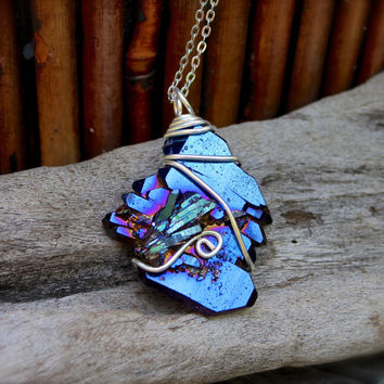 Titanium Aura Quartz Necklace - Blue Crystal Jewelry - Cobalt Titanium Aura Quartz Jewelry - Bohemian Necklace Hippie Necklace Boho Jewelry