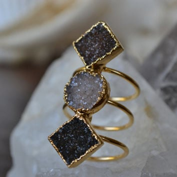 MOON RISING  /// Size 6 1/2 /// Druzy Ring /// Electroformed 24kt Gold