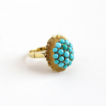 Vintage 18k Yellow Gold Turquoise Cluster Ring - 1960s Size 6 1/4 Retro 19 Teal Blue Cabochon Gems Fine Cocktail Statement Italian Jewelry