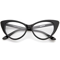 Retro High Sitting Temples Clear Lens Exaggerated Cat Eye Glasses 55mm