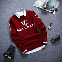 The new autumn and winter cotton thin section British style men students warm round neck pullover Maserati [9222489156]