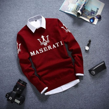 The new autumn and winter cotton thin section British style men students warm round neck pullover Maserati [9305692295]
