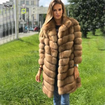 Tatyana furclub Real Mink Coats Natural Fox Fur Coat Genuine Leather Whole Skin Fur Jackets Vest Fashion Long Fox Mink Fur Coat