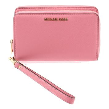 Michael Kors Adele Double-Zip Wallet Pebbled leather Misty Rose/Gold - 32H5GAFE1L MISTY ROSE