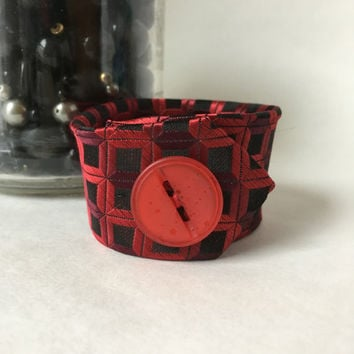 Red Valentines Bracelet Plaid Fabric Cuff Necktie Bracelet Gift For Friend Teacher Artist Thank You Gothic Black Urban Hipster Jewelry Edgy