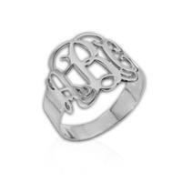 Sterling Silver Monogram Ring by Jmoire on Etsy