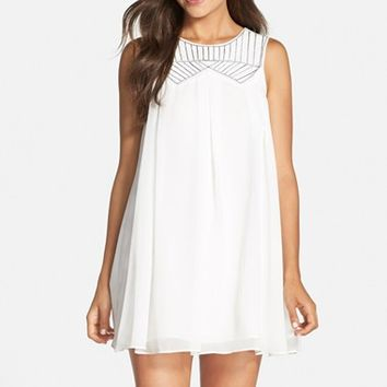 Women's BCBGeneration Beaded Woven Trapeze Dress,