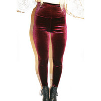 Wine Velvet High Waisted Leggings | VidaKush