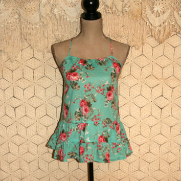 Hippie Boho Top Sleeveless Top Summer Top Floral Top Babydoll Top Racerback Festival Top Rose Pink Mint Green Size 2 XS Top Womens Clothing