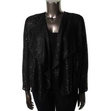 Alfani Womens Knit Sequined Cardigan Sweater