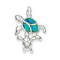 Sterling Silver Blue Inlay Created Opal Turtle & Baby Pendant