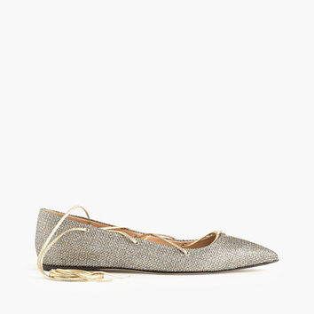 J.Crew Womens Glitter Lace-Up Flats