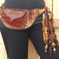 Autumn Flowers - Pocket Belt - Utility belt - Hip bag - Bohemian - Rennaissance - Festival - Burlesque - Money belt - Playa wear
