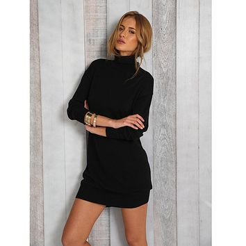 Free Ostrich Dress Hot Sales Women Long Sleeve Bodycon Party Evening Mini Dress Black Solid Turtleneck Chunky Dresses