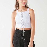 UO High-Neck Lace-Up Tank Top | Urban Outfitters