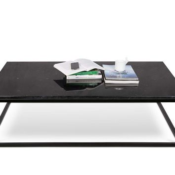 Prairie 47X30 Marble Coffee Table Black Marble Top / Black Lacquered Steel Legs