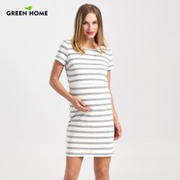 Striped Short Sleeve Basic Knee Length Maternity Nursing Dress