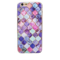 Purple Granite Painting Pattern Case for iPhone X 8 7 6S Plus &Gift Box
