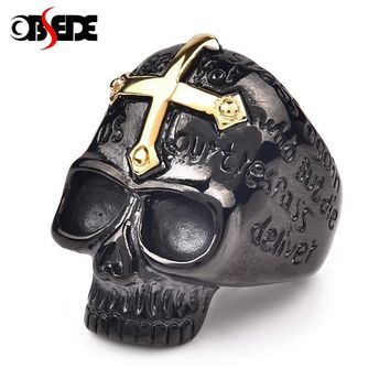 OBSEDE Gothic Black Titanium Skull Ring Hip-hop Punk Gold Cross 316L Stainless Steel Rings for Men Male Jewelry Vintage Gifts