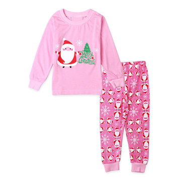 New 2~7YEARS child  Merry Chrismas Kids Girls Christmas Nightwear Pink Sleepwear Santa Printed Pajamas Set 2PCS L08