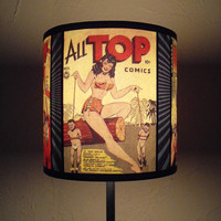 Comic Covers lamp shade lampshade -  lighting, fun lamp shade, christmas gift for teens, dorm room,geek home decor,comic book,gift for geeks