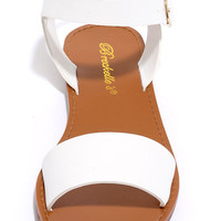 Hearts and Hashtags White Flat Sandals