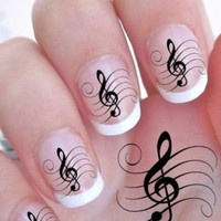 25% OFF & Free Shipping - G CLEF Nail Art Decals (Gcf) Full Nail Wrap Decoration Music Treble Clef - Waterslide Decals -Not Sticker