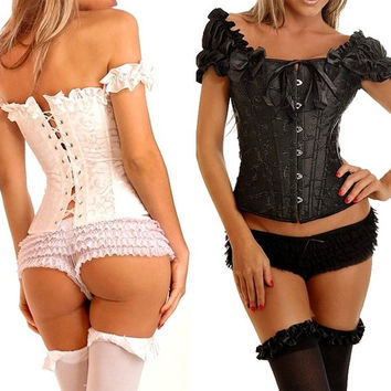 2015 NWT Women Sexy Steel Boned Bustiers Corset Lingerie Tiwn Set Two Shoulder Underbust 2 Colors S M L XL XXL = 1930263620