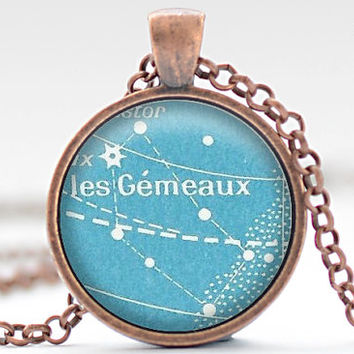 Vintage French Postcard Gemini Necklace, Zodiac Jewelry, Gemini Charm, Astrology Pendant, Your Choice of Finish (1826)