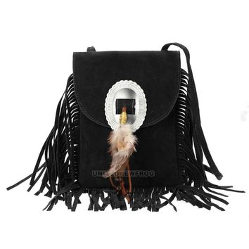 Fashion Women's Boho Leather Tassel Shoulder Bag Crossbody Bag Messenger Handbag
