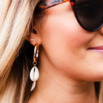Hoop With Shell Charm Earring, Gold