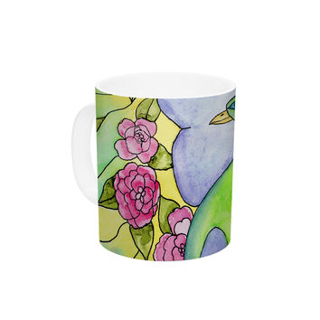 "Catherine Holcombe ""Stained Glass Watercolor Peacock"" Purple Green Ceramic Coffee Mug"