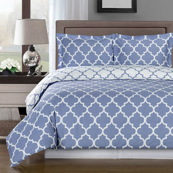 Meridian Periwinkle 100% Egyptian Cotton Duvet Cover Set