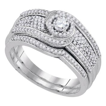 10kt White Gold Womens Round Diamond Swirl Bridal Wedding Engagement Ring Band Set 1/2 Cttw
