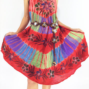 FLD54 Maxi Gypsy Rayon Dress Hippie Boho Hobo Beach Dress Tie Dye Red