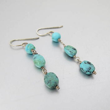 Turquoise Nugget Dangle Earrings. Sterling Silver Southwestern Turquoise Triple Nugget Drop Earrings.
