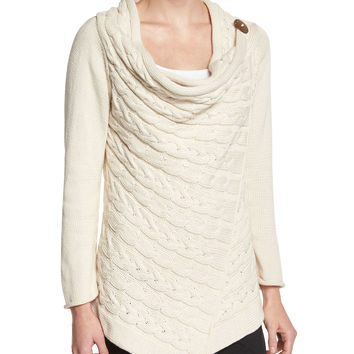 Draped-Neck Cable-Knit Cardigan, Size: