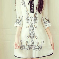 Wind Beading Disk Flowers Embroidered Lace Chiffon Sleeve Temperament Dress