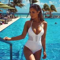 Hollow Out Bikini One-piece Swimwear