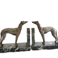 French antique greyhond bookends. Spelter Art Deco sculpture.