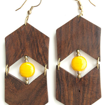 Eyes and Arrows Wood Earrings - Yellow