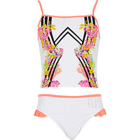 River Island Girls white floral mirror tankini