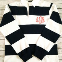 Monogrammed Game Day Preppy Rugby Shirts - Assorted Color Combinations Available