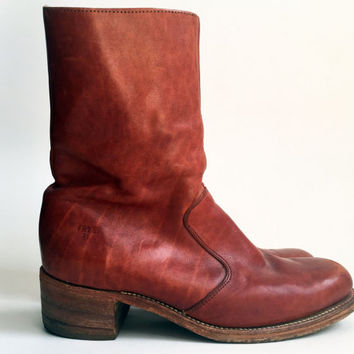 70s Boots/ 1970's Frye Campus Boots Red Brown Leather Zip Up Boots Men's Vintage Boots Men's Size 11