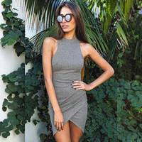 Summer Sexy Grey Women Knitted Dresses Ladies Sleeveless Wrap Beach Gray Mini Short Dress Sweater Bodycon Turtleneck Robe Femme