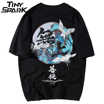 760969ef2 Buddha Crane Print T Shirts Mens Hip Hop T-Shirt Chinese Charact