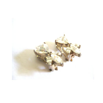 Clear Rhinestone Clip On  Earrings 1950s