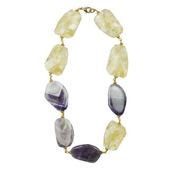 Amethyst And Coffee Quartz Slap Necklace
