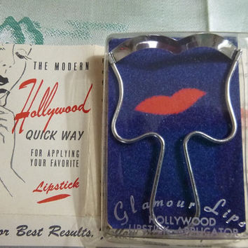50's Hollywood Lipstick Applicator Glamour Lips New Old Stock Never Used Apply Favorite Lippy